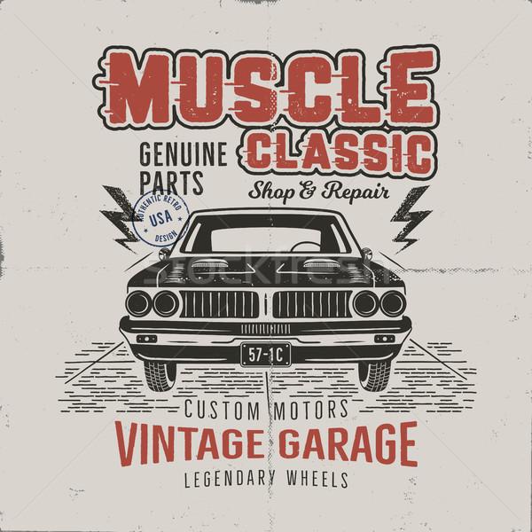 Vintage muscle car ontwerp klassiek Stockfoto © JeksonGraphics
