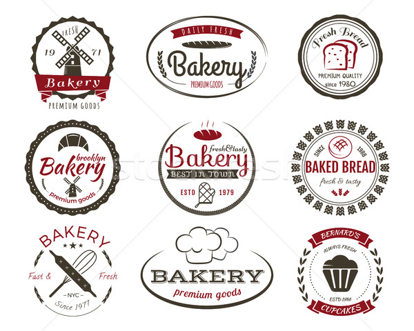 Set of bakery labels, bake badges and design elements, sweets symbols. Fresh bread, cakes logo templ Stock photo © JeksonGraphics
