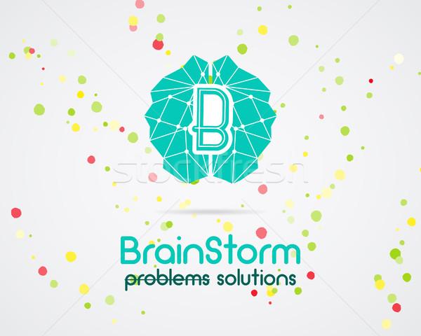 Geistesblitz Gehirn Schaffung Idee logo Vorlage Stock foto © JeksonGraphics