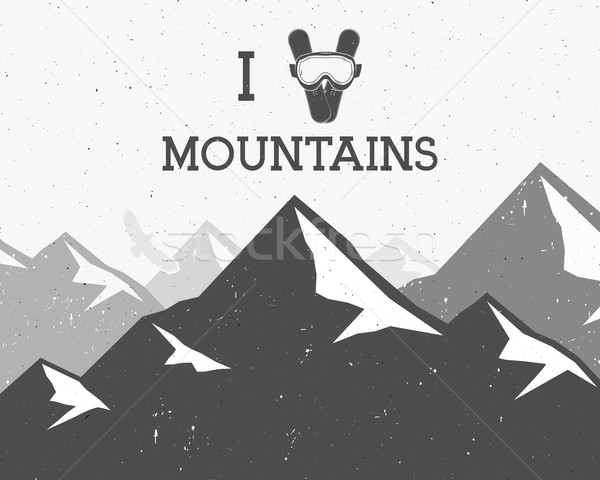 Motivational and inspirational typography poster with love mountains text. Winter mountain adventure Stock photo © JeksonGraphics