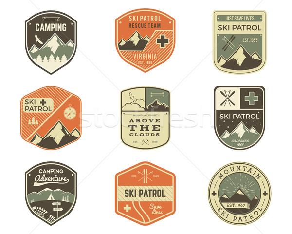 Foto stock: Establecer · estilo · retro · esquí · club · clásico