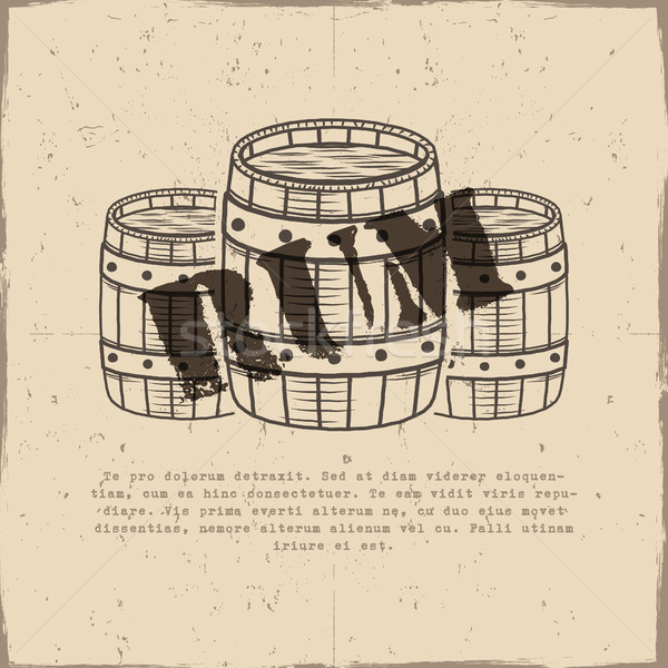 Vintage handcrafted poster template with old barrels and vector sign - rum. Sketching filled style.  Stock photo © JeksonGraphics