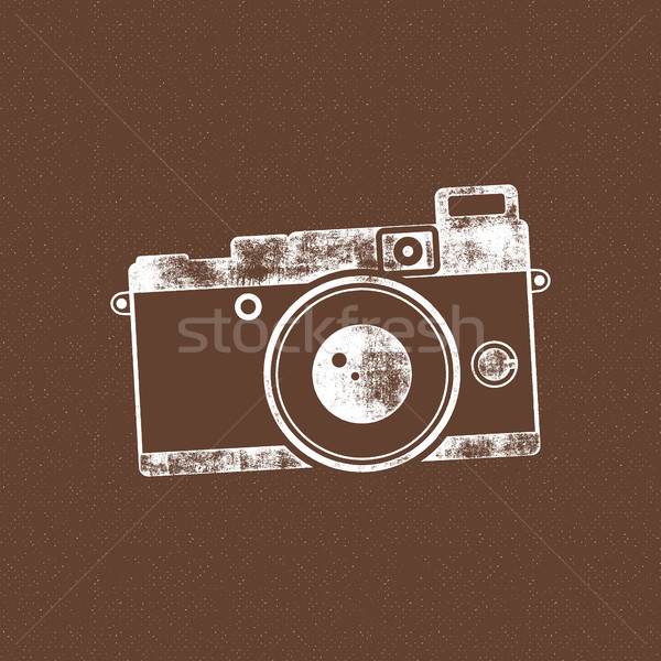 Retro camera icon. Old poster template. Isolated on grunge halftone background. Photography vintage  Stock photo © JeksonGraphics