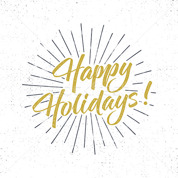 Happy Holidays text and lettering. Holiday typography Vector Illustration. Letters with sun bursts a Stock photo © JeksonGraphics