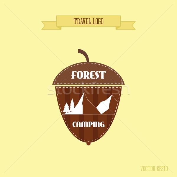 Kempingezés vadon kaland kitűző grafikai tervezés logo Stock fotó © JeksonGraphics