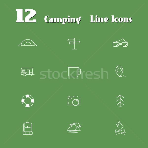Reizen lijn iconen web mobiele Stockfoto © JeksonGraphics