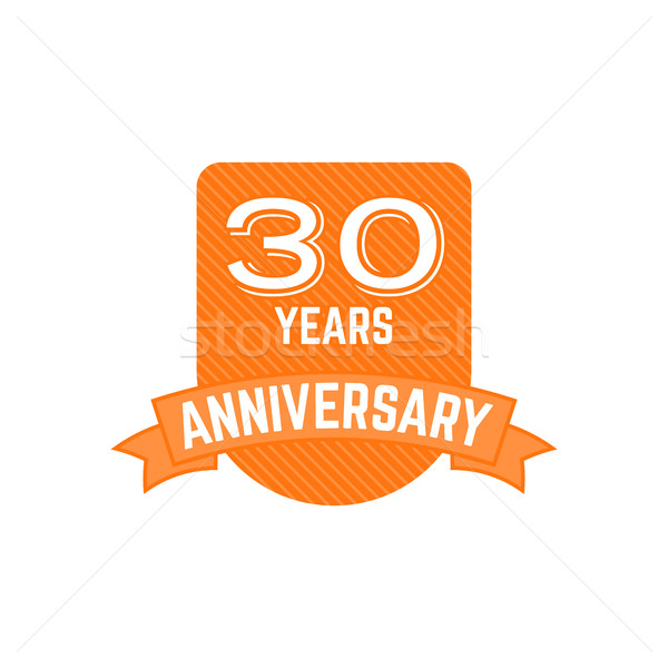 30 years Anniversary badge, sign. Emblem of 30th anniversary in flat style. Easy to edit use your nu Stock photo © JeksonGraphics