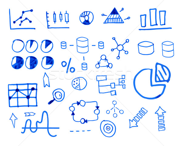 Business finance doodle hand drawn. sketched elements. Concept - graph, chart, pie, arrows signs. Is Stock photo © JeksonGraphics
