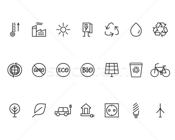 Ecology Line Icons Set Stock photo © JeksonGraphics