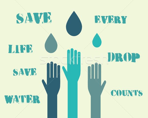 Save water poster concept with drops and hands. With eco keywords. Ecology water crisis background.  Stock photo © JeksonGraphics