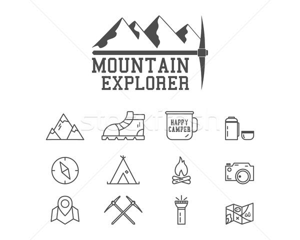 Camping mountain explorer camp badge, logo template. Travel, hiking, climbing line icons. Thin and o Stock photo © JeksonGraphics