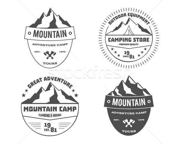 Set of monochrome outdoor adventure and mountain, hiking badge logo, emblem, label design. Summer tr Stock photo © JeksonGraphics