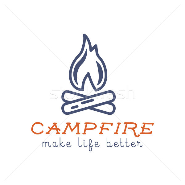 Camping logo design with typography and travel elements - campfire. text - make life better. Hiking  Stock photo © JeksonGraphics