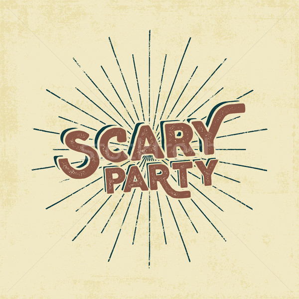 Halloween 2016 scary party typography label template. Old style design. Text with retro grunge effec Stock photo © JeksonGraphics