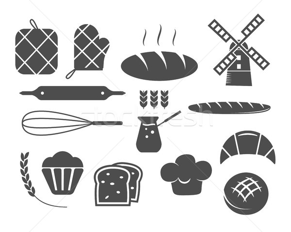 Set of bakery silhouette icons and design elements, symbols. Fresh bread, cakes logo templates. Mono Stock photo © JeksonGraphics