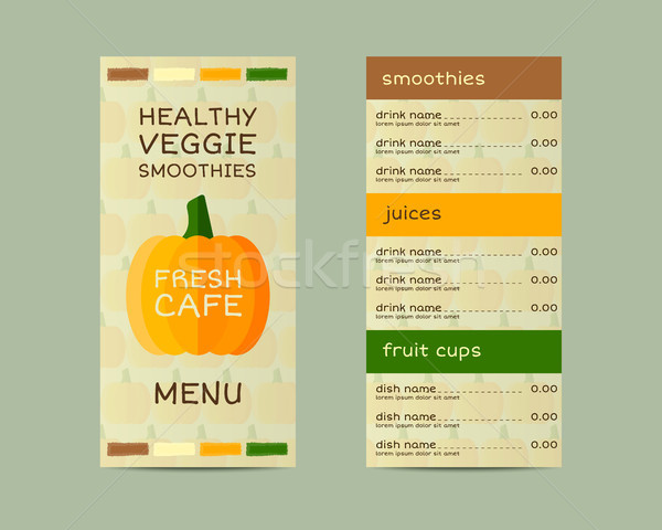 Vegetable vegan menu design, vector concept. Fresh elements for cafe or restaurant with energetic dr Stock photo © JeksonGraphics