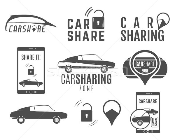 Car share logo designs set.  Sharing vector concepts. Collective usage of cars via web application.  Stock photo © JeksonGraphics