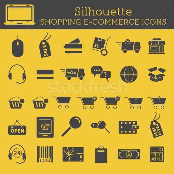 Photo stock: Silhouette · achats · en · ligne · icônes · isolé · jaune