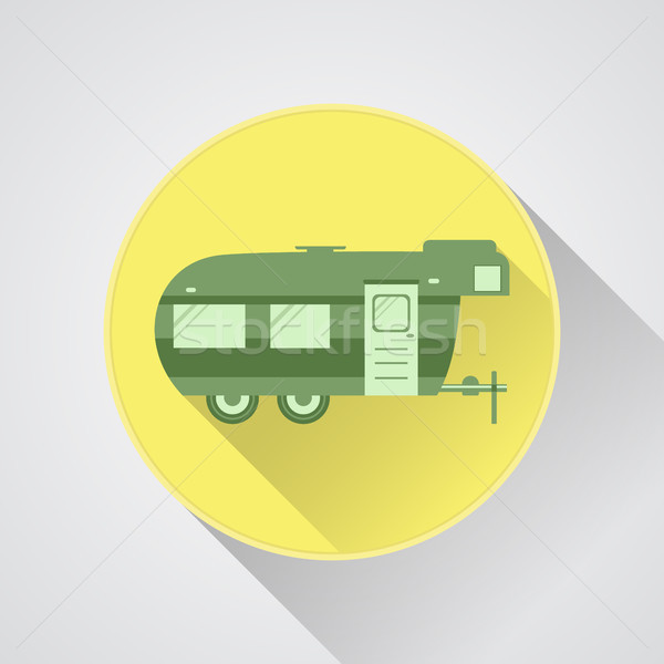 RV camping icon logo and badge. Caravan button in flat design with long shadow. Motorhome. Isolated  Stock photo © JeksonGraphics