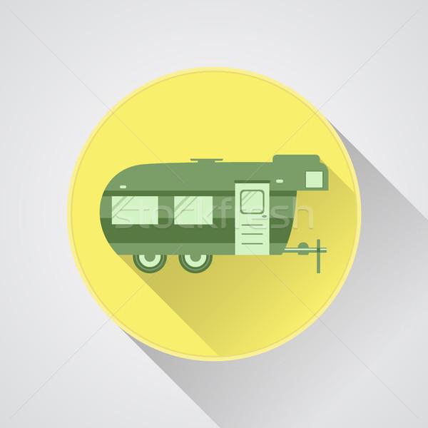 Stok fotoğraf: Kamp · ikon · logo · rozet · karavan · düğme