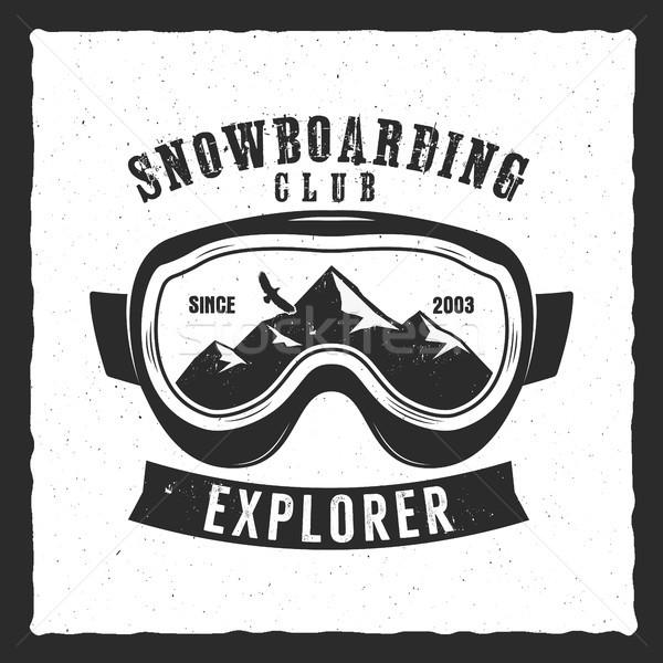 Snowboardzie okulary ochronne ekstremalnych logo etykiety szablon Zdjęcia stock © JeksonGraphics