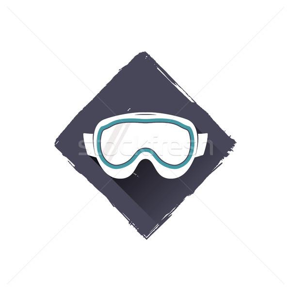 snowboard glasses logo design, symbol. Stock illustration with shadow. Isolated on white background Stock photo © JeksonGraphics