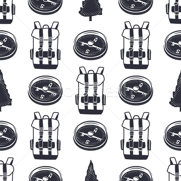 Vintage hand drawn hiking adventure pattern design. Camping seamless wallpaper with backpack, compas Stock photo © JeksonGraphics