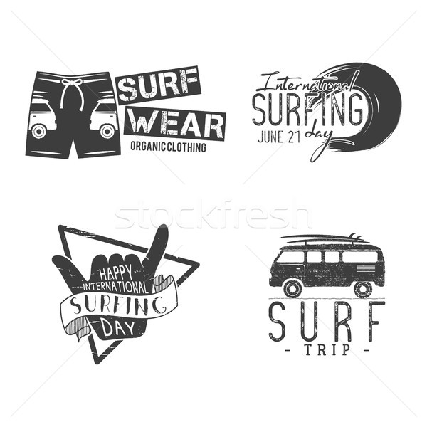 Vintage Surfing Graphics and Emblems for web design or print. Surfer logo templates. Surfing Graphic Stock photo © JeksonGraphics