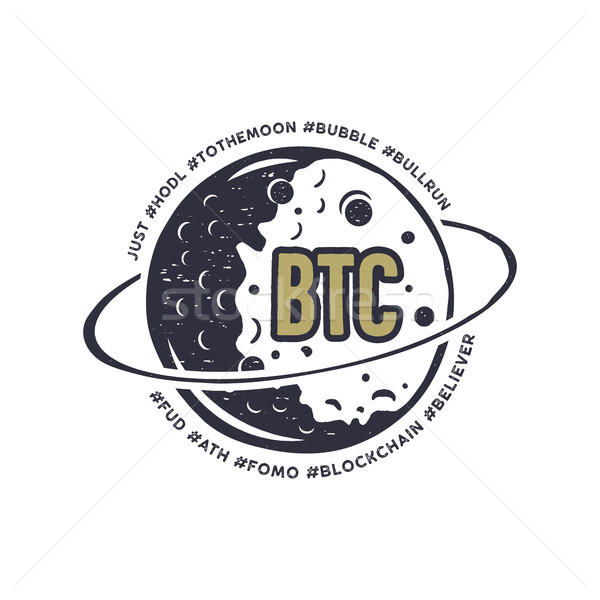Moon Bitcoin emblem with funny hashtags in orbit - bubble, blockchain, hodl and others. Crypto T-Shi Stock photo © JeksonGraphics