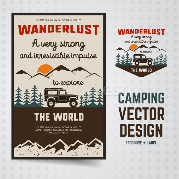 Wanderlust Logo Emblem and Brochure Template. Vintage hand drawn travel badge. Featuring old car rid Stock photo © JeksonGraphics