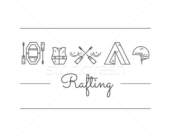Stock photo: Rafting equipment icon collection.  Outdoors style, thin line monochrome design. Stylish elements fo