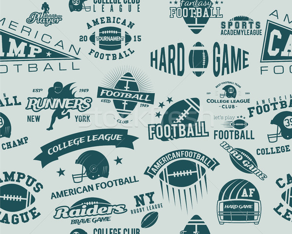 College rugby and american football team seamless pattern in retro style. Graphic vintage design for Stock photo © JeksonGraphics