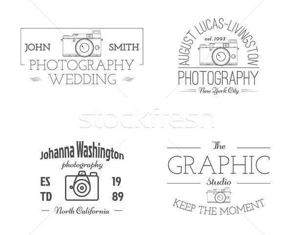 Vintage Photography studio Badges, Labels. Monochrome design with old cameras and elements. Retro st Stock photo © JeksonGraphics