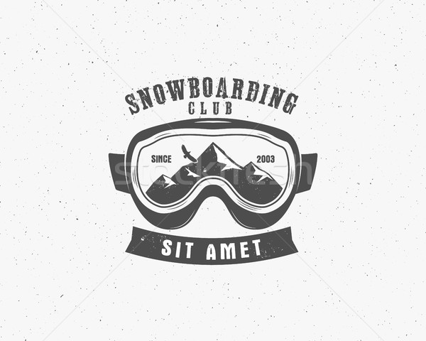Stockfoto: Snowboarden · stofbril · extreme · logo · label · sjabloon
