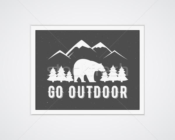 Camping vector frame template with travel poster. Retro go outdoor concept, monochrome design. Natio Stock photo © JeksonGraphics