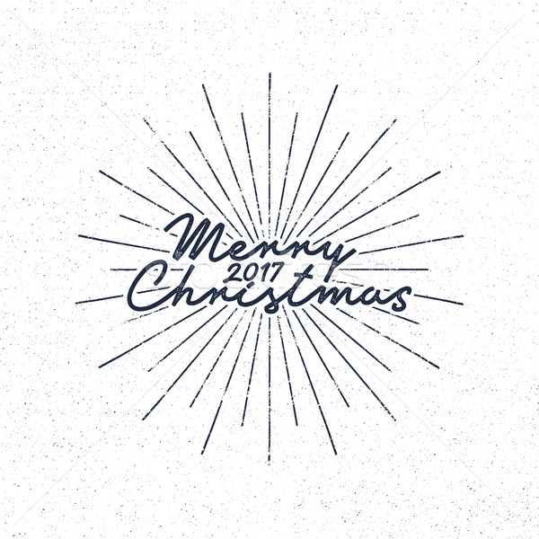 Merry Christmas 2017 lettering. Holiday typography Vector Illustration. Letters composition with sun Stock photo © JeksonGraphics