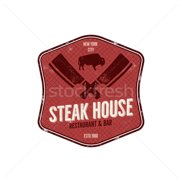 Stock photo: Steak House vintage Label. Typography letterpress design. Vector steak house retro logo. Included bb