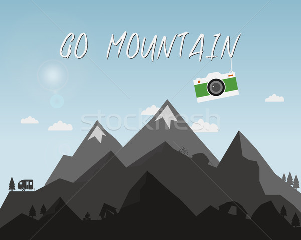 Go mountain concept design. Outdoor travel illustration with silhouette, tree, bike, tent. Colorful  Stock photo © JeksonGraphics