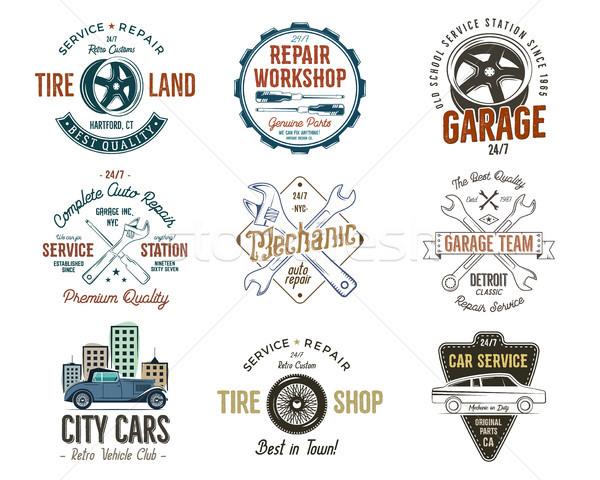 Oldtimer dienst badges garage reparatie Stockfoto © JeksonGraphics