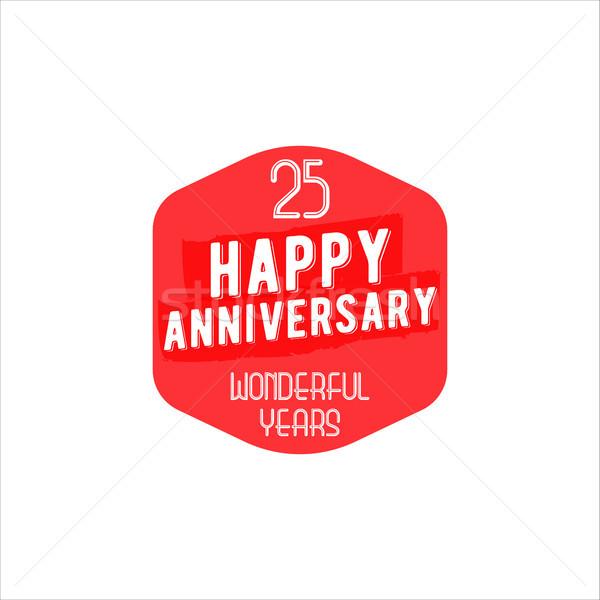 25 yıldönümü rozet imzalamak amblem Retro Stok fotoğraf © JeksonGraphics