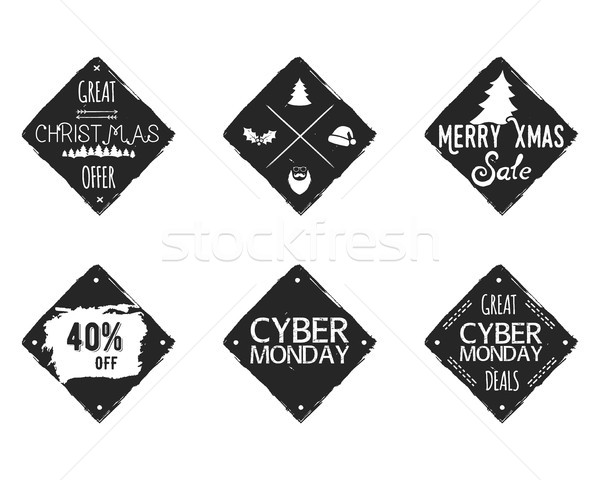 Set of Christmas, cyber monday sale ink, watercolor banners, labels, badges, patches with a winter s Stock photo © JeksonGraphics