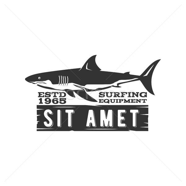 Vintage Surfing Store Badge design. Surf gear shop Emblem for web design or print. Retro shark logo  Stock photo © JeksonGraphics