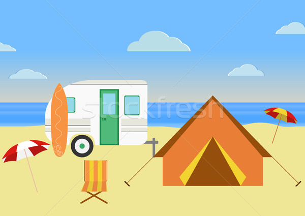 Retro Caravan Illustration Stock photo © JeksonGraphics