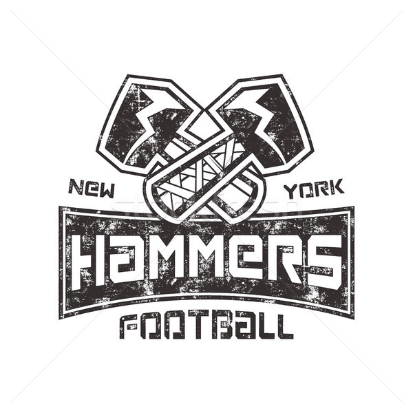 American Football logo. Hammers new york sign. Letterpress retro design. Isolated on white backgroun Stock photo © JeksonGraphics