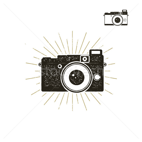 Hand drawn vintage camera label with sunbursts. Old style camera icon isolated on white background.  Stock photo © JeksonGraphics