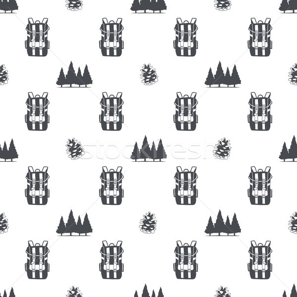 camping pattern with backpack, trees and pine cone symbols. Adventure seamless wallpaper. Stock vect Stock photo © JeksonGraphics