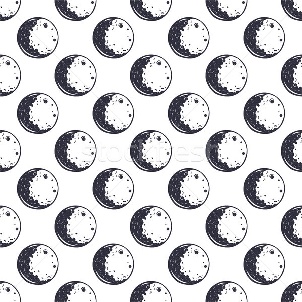 Moon seamless pattern. Monochrome. Vintage hand drawn space wallpaper design. Space theme, symbols.  Stock photo © JeksonGraphics