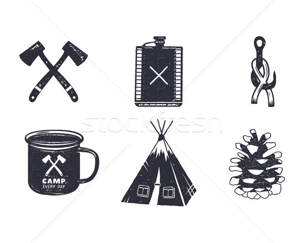 Vintage hand drawn adventure hiking, camping shapes. Retro monochrome design. can be used for t shir Stock photo © JeksonGraphics