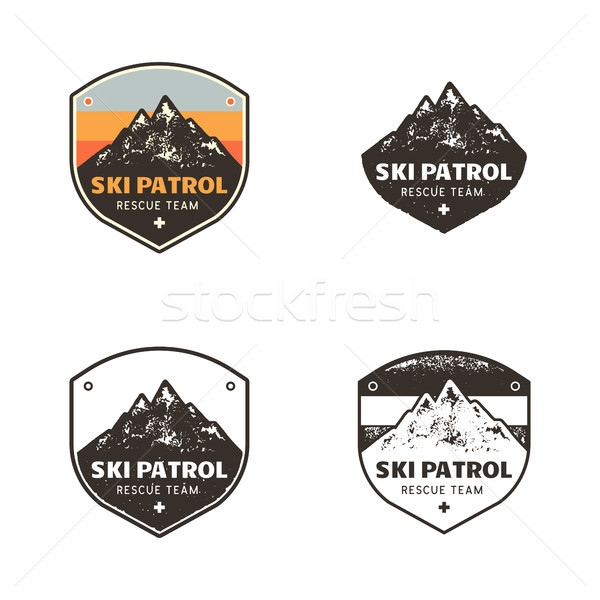 Ski Club, Patrol Labels. Vintage hand drawn mountain winter camp explorer badges. Outdoor adventure  Stock photo © JeksonGraphics