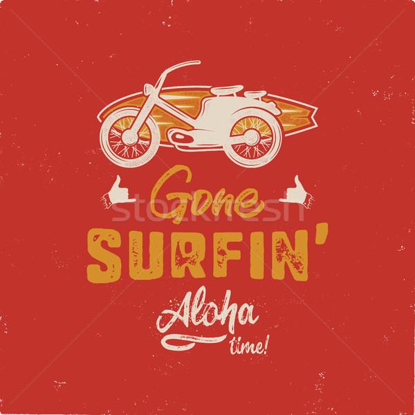Vintage zomer tshirt surfen aloha Stockfoto © JeksonGraphics